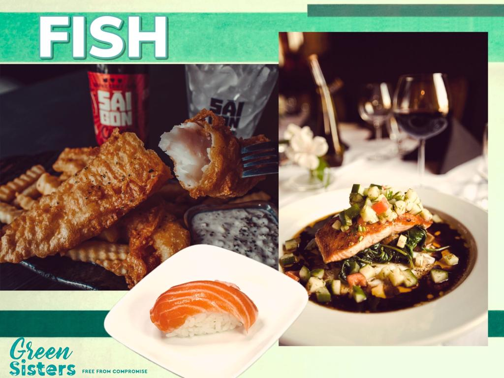 Some assorted images of salmon, cod (fish and chips), and sushi.