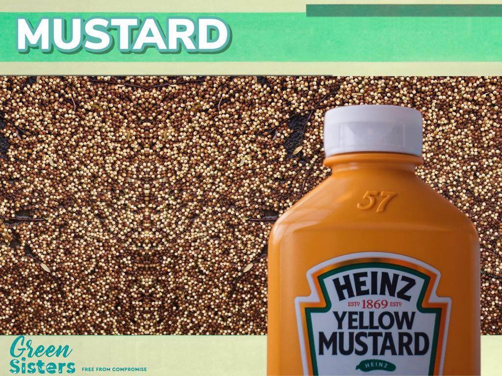 Thousands of mustard seeds, as well as a bottle of Heinz Mustard sauce.