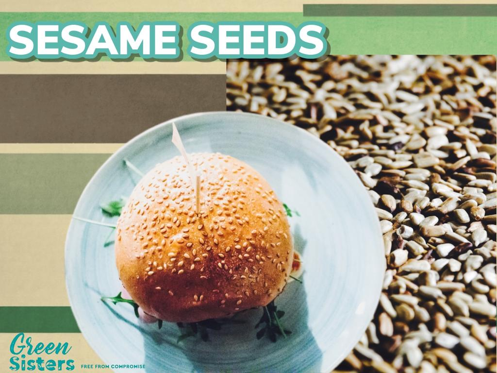 Some assorted images of sesame seeds, as well as seeds on a burger bun.