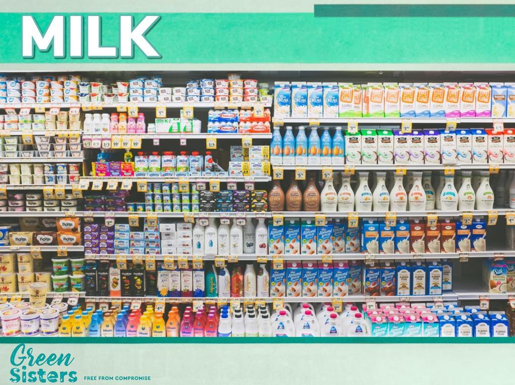 An aisle of milk cartons.